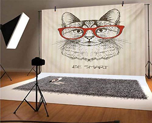 Hipster - Fondo de vinilo para fotografía de 20,3 x 15,2 m, diseño de gato con cita retro vintage con gafas de dibujo para fotografía de bebé recién nacido