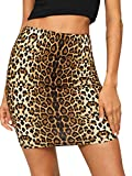 SheIn Women's Leopard Print Stretch Above Knee Bodycon Short Pencil Mini Skirt Brown Small