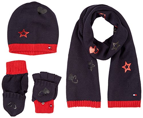 Tommy Hilfiger Heren New Born Boy Poppy Giftpack muts, sjaal & handschoenen set, blauw (Tommy Navy 413), One Size