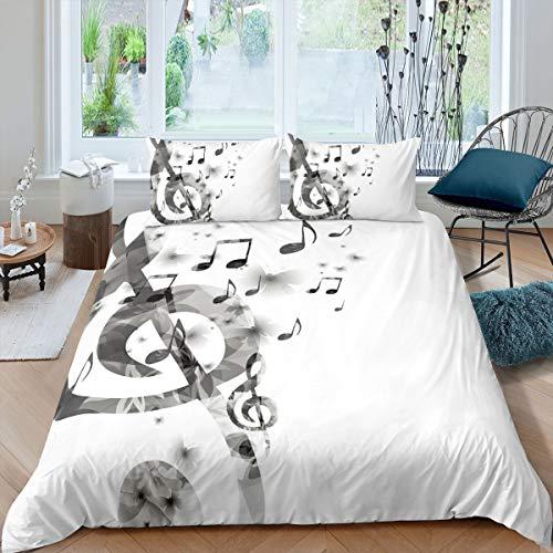 Musiknoten-Bettwäsche-Set mit Schmetterlingsmuster, König Mucis, Bettbezug für Kinder, Jungen, Mädchen, Teenager, grau-weiß, Reißverschluss, 3-teiliges Tagesdeckenbezug (1 & 2 Kissenbezug)