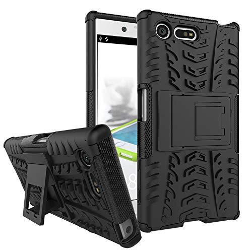 pinlu Funda para Sony Xperia X Compact (4.6 Pulgada) Smartphone Doble Capa Híbrida Armadura Silicona TPU + PC Armor Heavy Duty Case Duradero Protección Neumáticos Patrón Negro