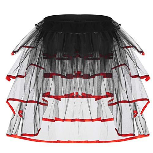 JERKKY onderjurk voor dames, ballet, tule, staart, contrasterende kleur, satijnen beleg, taart, knoopjes, party, onderrok