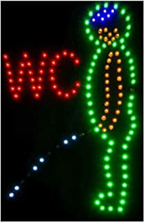 CHENXI Led Toilet Washroom Neon Open Lighted Signs Ultra Bright Flashing 48 X 25 CM Indoor of Men WC Bathroom (48 X 25CM, A)