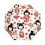 N\C Kokeshi poupées japonaises Parapluie Voyage Fille Hommes Automatique Ouvert Petits fourre-Tout résistant à la Pluie 3 parapluies pliants pour Femmes UV Protection Dames