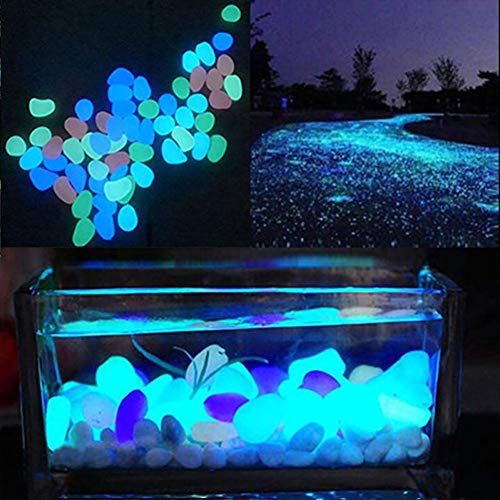 HOT SALE! 10Pcs Color Luminous Glowing Artificial Stone Aquarium Fish Tank Bonsai Garden Decor Glow In The Dark Pebbles Stones : Yellow