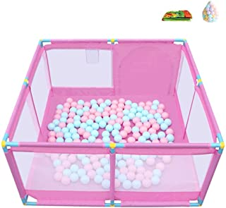 XHJYWL Playpen Child Play Yard 8-Panel Baby Indoor Kids Safety Fence Children s Household Crawling Mat with 200 Balls  Color PINK