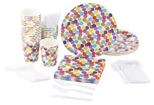 Juvale Einweggeschirr Party-Set Set für 24 Personen umfasst Plastikmesser, Plastikgabeln, Plastiklöffel, Pappteller, Servietten, Pappbecher - Kindergeburtstag, Fasching - Bunte Punkte/Konfetti