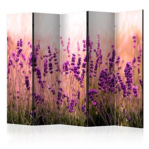 murando Raumteiler Lavendel Natur Wiese Foto Paravent 225x172 cm beidseitig auf Vlies-Leinwand Bedruckt Trennwand Spanische Wand Sichtschutz Raumtrenner violett b-B-0111-z-c