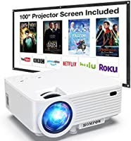 """Projector, HOMPOW Mini Projector with screen, Portable Video Projector with 6000 Lux, 1080P Supported, 240"""" Display,..."""