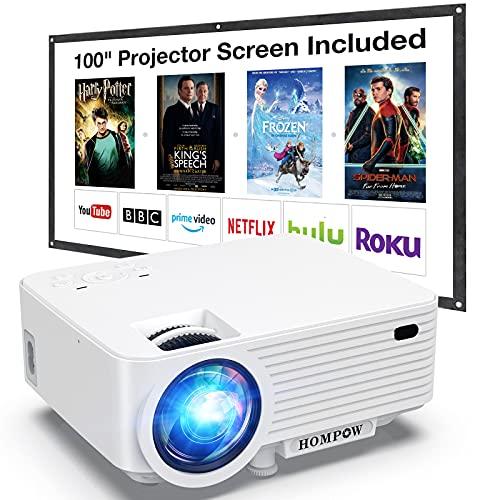 Beamer, H O M P O W Mini Beamer mit Bildschirm, Tragbarer Video Beamer mit 6000 Lumen, Full HD 1080P unterstützt, Eingebaute Dual Lautsprecher, Kompatibel mit TV-Stick, HDMI, VGA, USB, Laptop,DVD, PS4