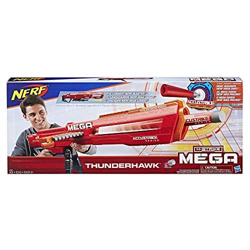 Nerf Mega Thunderhawk-Pistola de Juguete con Cargador Deslizante y trípode Plegable (Hasbro E0440EU4)