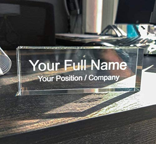 Lautus Designs Personalized Office Desk Name Plate Custom Engraved Clear Acrylic Desk Nameplate product image