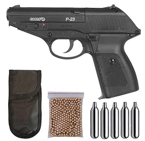 Tiendas LGP - Gamo - Pack Pistola Gamo P-23 - Arma de Aire comprimido + 5 Bombonas CO2 + Funda Portabombonas + 500 BBS