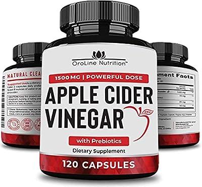 Organic Apple Cider Vinegar Capsules (120 Capsules | 1500 mg) with Prebiotics | Apple Cider Vinegar Pills | Fiber Supplement for Immune Support & Gut Health… by Oroline Nutrition