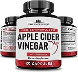 Organic Apple Cider Vinegar Capsules (120 Capsules | 1500 mg) with Prebiotics | Apple Cider Vinegar Pills | Fiber Supplement for Immune Support & Gut Health…