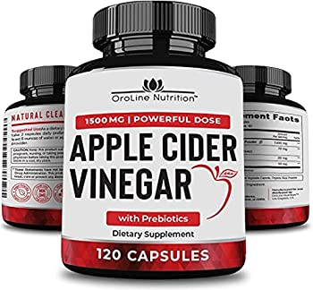 Organic Apple Cider Vinegar Capsules  120 Capsules | 1500 mg  with Prebiotics | Apple Cider Vinegar Pills | Fiber Supplement for Immune Support & Gut Health…