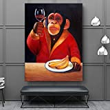 Large Canvas Painting Artwork Wise Monkey swag Poster painting Wall Art Decoration Gorilla Picture for Living Room Mural 50x70cm Frameless