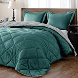 downluxe Lightweight Solid Comforter Set (King) with 2 Pillow Shams - 3-Piece Set - Green and Grey - Down Alternative Reversible Comforter