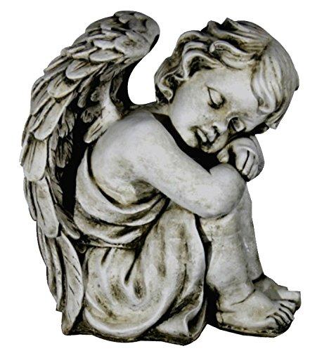 DEGARDEN AnaParra Figura Decorativa Ángel de hormigón-Piedra para jardín o Exterior 36cm.