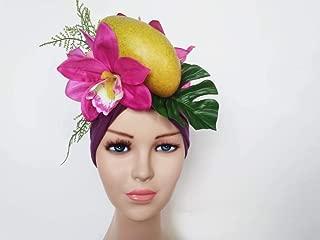 Turban - violet toddler fruit turban, baby fruit costume, carmen miranda hat, fruit hat toddlers, tropical hat, mango hat, tutti frutti hat