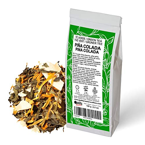 Té Verde. Piña Colada. Sabor a Piña y Coco. Con piña (16%), coco y caléndula. Antioxidante. Diurético. 100 gramos