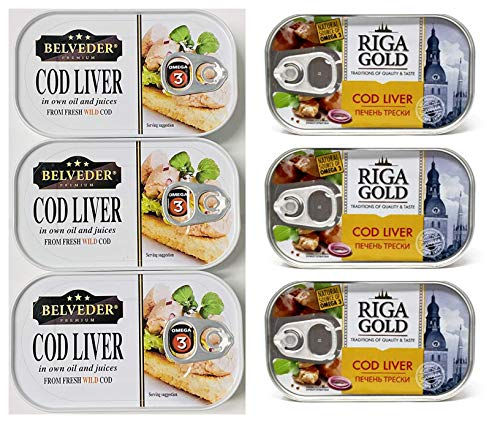 Cod Liver 2 Different Types Canned From Norway pack of 6