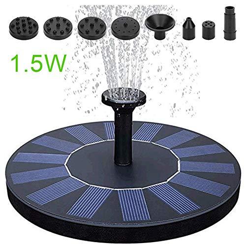 Fontein op zonne-energie, 1,5 W, vijverpomp met zonnepaneel, monokristallijn, drijvende waterpomp, miniatuur, verbeterde zonne-fontein.