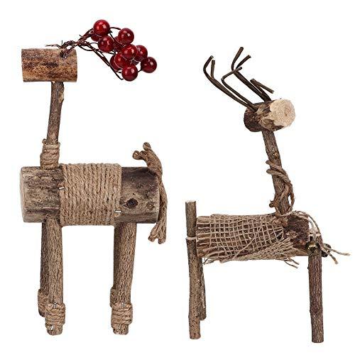 Liineparal Kerstmis paar ELCH decoratie houten tafel eland ornamenten Kerstmis desktop woning collector huis indoor tafel open haard rek venster decoratie geschenken MEERWEG verpakking