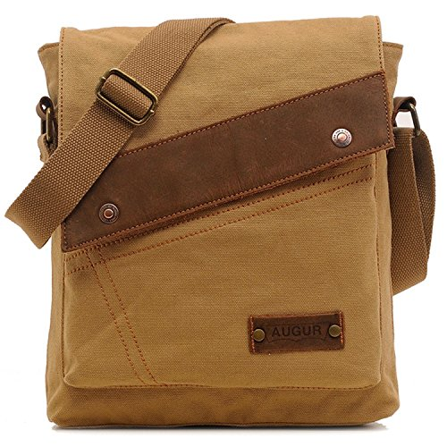 Vere Gloria Men Women Small Canvas Messenger Bag Crossbody Shoulder Handbags Ipad Laptop Bag for School Travel Hiking and Everyday Use