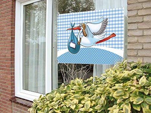 Fensterfahne Klapperstorch mit Saugnäpfen hellblau