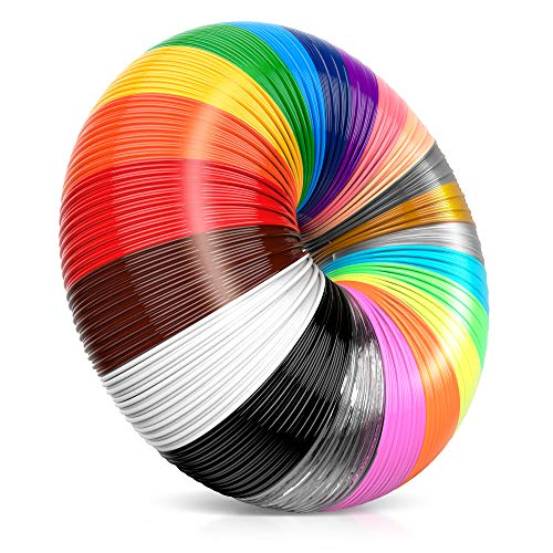 i3dpen 3D Pen Filament Refills - Premium Set of 21 Colors 689 feet Bonus 300 Stencils e-Book Including 6 Glow in The Dark Best 1.75mm PLA Filament Pack for 3D Pens