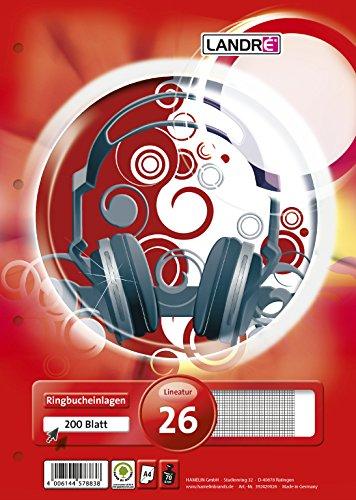 LANDRE 100050493 Ringbucheinlagen A4 200 Blatt kariert weißer Rand 70 g/m² runde Ecken gelocht Ringbuch-Einlage Papier-Einlage gelochtes Papier