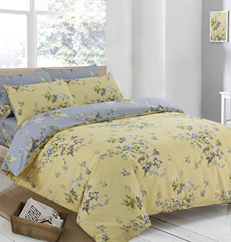CnA Stores - Victoria Yellow and Grey Floral Duvet Cover & Pillowcase Bedding Set Single, Double or King Size (Double Bed)