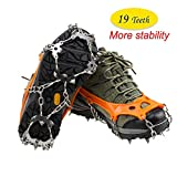 OUTEC Crampons 19 Dents Marche Traction Crampons Glace Neige Grips Anti Slip en Acier Inoxydable Pointes pour Bottes Chaussures, Taille 36-43
