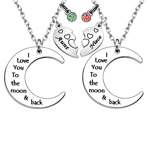 Niece Gift,2Pcs Moon Silver Chain Necklace for Women Lady Girl Aunt Birthday Christmas