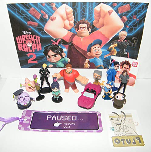 HappiToys Ralph Breaks The Internet Movie Deluxe Figure Set of 15 Toy Kit with 12 Figures, Sticker, Tattoo, Race Car and More with Original and All New Characters!