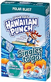 Hawaiian Punch Singles To Go Powder Sticks, Water Drink Mix, Polar Blast, 0.76 Oz, Pack of 8