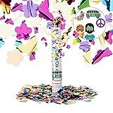 Relaxdays Party Popper bunt mit Schmetterlingen, Blumen, Konfetti Kanone für Mottopartys, 40cm...