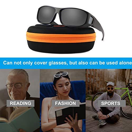 Sunglasses Fit over Glasses for Men Women Oversized, Polarized UV Protection That Fit on Regular Glasses - M Black Frame Grey Lens