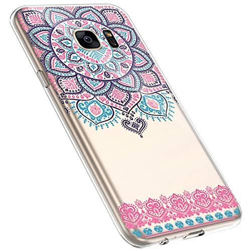 MoreChioce kompatibel mit Samsung Galaxy S7 Hülle,Vintage Campanula Muster Transparent Kratzfest TPU Weiche Silikon Handyhülle Flexible Gel Silikonhülle Schutzhülle Protective Bumper,Mandala #14