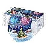 DIAU 10-50 Stück Erwachsene Weihnachten Einweg Mundschutz Multifunktionstuch, Modische 3-lagig Mode Maske,Weiche Atmungsaktive Mund-Nasenschutz Bandana Halstuch