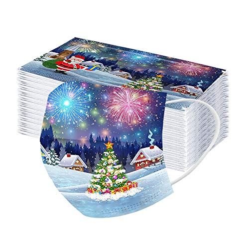 Koippimel 50Pcs, Kids Disposable Face_Mask, Christmas Tree Printed 3Ply Breathable_Masks with Elastic String & Nose Bridge Strip for Nose and Mouth Protection, 1106 Style_026