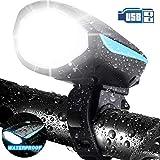 LETOUR - Luce per bicicletta con clacson forte, ricaricabile, impermeabile, luce anteriore...