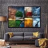 XWArtpic Leinwandbilder Bilder Wandkunst 4 Saison Bäume naturlandschaft Abstrakte Gemälde Für Wohnzimmer Landschaft Poster Wohnkultur Ich 40 * 80cm