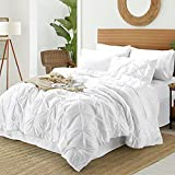 BYSURE Summer Comforter Queen Sets with Sheets, 8-Pieces White Pinch Pleated Bed in A Bag, 1 Comforter (88x88), 1 Bed Skirt, 1 Flat Sheet, 1 Fitted Sheet, 2 Pillowcases, 2 Pillow Shams