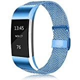 Erencook Bands Compatible with Fitbit Charge 2 Band, Adjustable Stainless Steel Magnetic Lock Replacement Wristband for Women Men (Large, Blue)