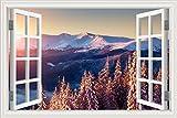 3d ventana pegatina de pared paisaje nieve carretera invierno bosque paisaje papel pintado vinilo, W0605, 32