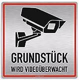Schild Videoüberwachung, Grundstück wird Videoüberwacht, 20x20cm, Aluverbund silber gebürstet, edle Optik