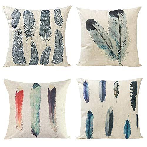 Gspirit 4 Pack Pluma Algodón Lino Throw Pillow Case Funda de Almohada para Cojín 45x45 cm