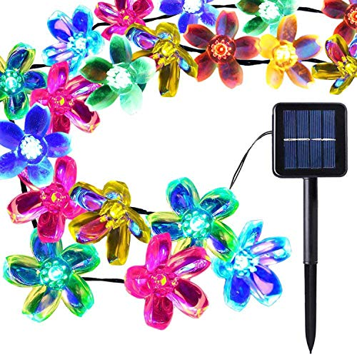 LETTON Solar String Lights Waterproof Outdoor 50 LED 22FT 8-in-1 Mode for Home Christmas-Multicolor